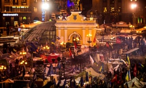 Protesters gather in the tent camp at the Independence Square on December in Kiev.