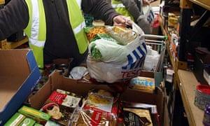 Food parcels prepared at a food bank