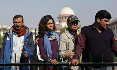 Indian gay rights activists outside Delhi's supreme court
