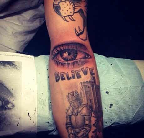 Justin Bieber's knight tattoo.
