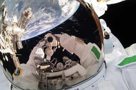 Luca Parmitano takes a selfie in space.
