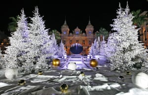 Christmas trees and decorations adorn the entrance to the Monte Carlo Casino in Monaco City.