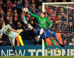 chelsea v steau: Demba Ba goes close again but is denied by the fist of Ciprian Tatarusanuua