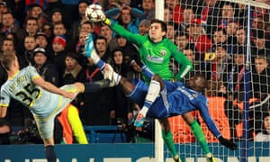 Chelsea's Demba Ba has an overhead shot stopped by Steaua keeper Ciprian Tatarusanu.