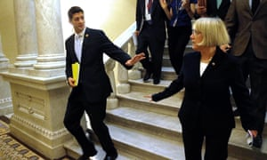 Senate Budget Committee chairman Senator Patty Murray and House Budget Committee chairman Representative Paul Ryan depart after a news conference to introduce The Bipartisan Budget Act of 2013 at the U.S. Capitol
