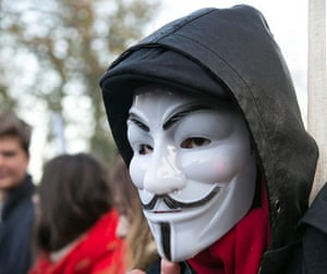Cops off campus protest: protest photo anonymous mask