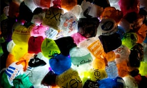 Plastic bags lit