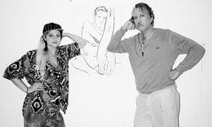 Raymond Pettibon with his assistant Faren Ziello