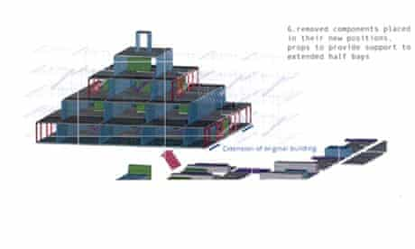 Drawing showing how Heygate estate would be deconstructed and turned into a pyramid