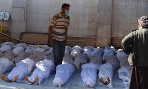 The bodies of people apparently killed in the chemical attack in Ghouta.