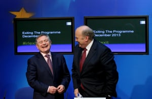 Minister for Public Expenditure Brendan Howlin (left) and Minister for Finance Michael Noonan after a press conference as part of day-long briefings to mark the exit from the bailout this coming Sunday.