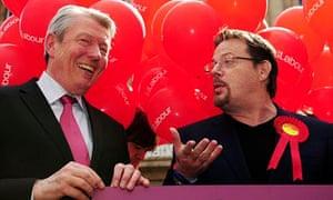 Alan Johnson (left) and Eddie Izzard on the general election campaign trail 2010