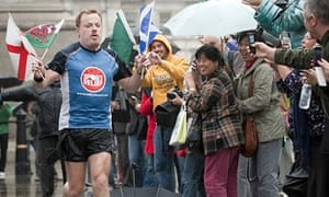 Eddie Izzard as he completed the 40th of 43 marathons he ran in 52 days in 2009