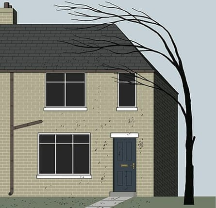 Michael Kirkham illustration of a house with a windswept tree