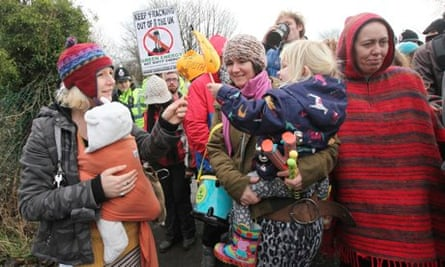 Anti-fracking protesters in Barton Moss