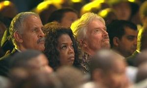 Oprah Winfrey, her husband Stedman Graham and Richard Branson at the service.