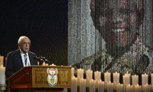 Anti-apartheid activist and close friend of Nelson Mandela, Ahmed Kathrada, gives a speech.