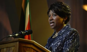 Mandela's granddaughter Nandi speaks to the attendees.