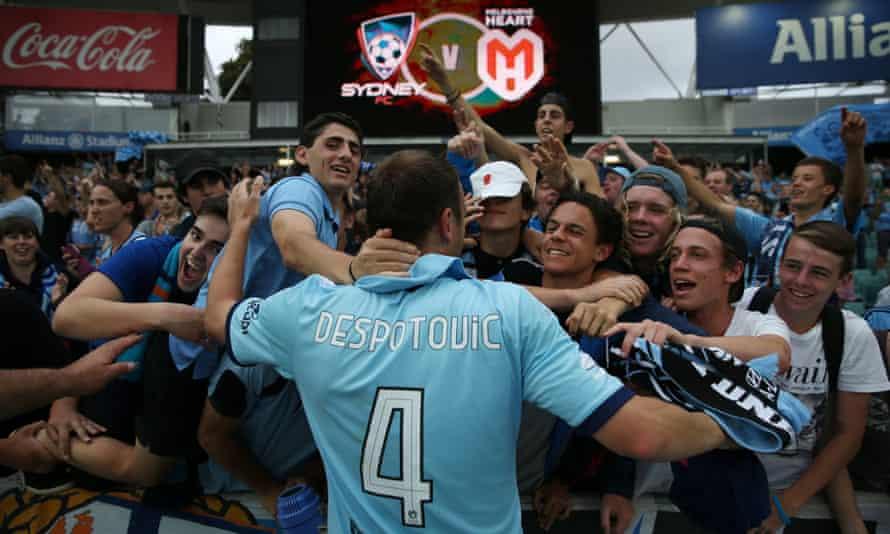 Sydney's Ranko Despotovic celebrates with fans