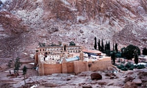 A view of the snow-covered Saint Catherine's Monastery in south Sinai, Egypt.