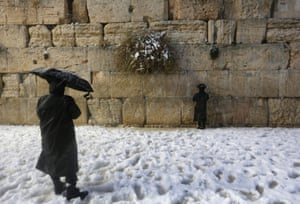 A visit to the Western Wall in Jerusalem's Old City during a snowstorm.
