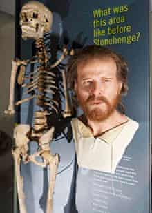 A Neolithic skeleton and reconstructed head at Stonehenge's new visitor centre