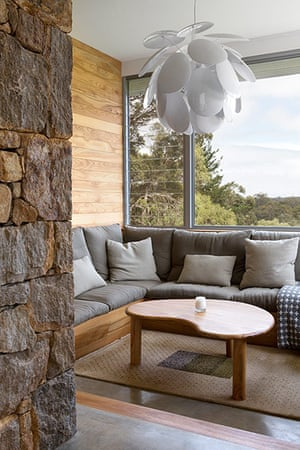 Homes - Perth House: interior of house with wooden walland large glass window