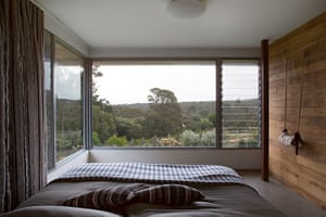 Homes - Perth House: shot of bedroom with huge glass windows