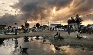 The central square and market of Mombane Mozambique is seen during sunset
