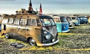 VW camper vans: old VW campers parked next to each other