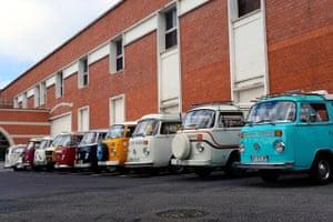 VW camper vans: VW campers parked side by side