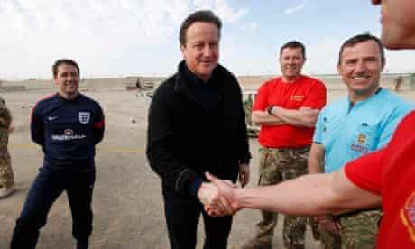 David Cameron and Michael Owen meet troops