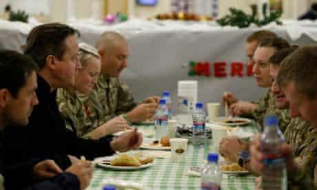 David Cameron eats Christmas dinner