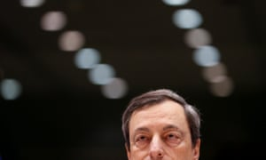 ECBN president Mario Draghi ahead of today's hearing by European Parliament committee on Monetary Affairs in Brussels. Photo:  EPA/Olivier Hoslet