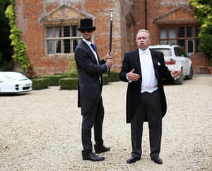 Butler training school: House owner Johnny Kerr and butler George Telford talk ahead of a party