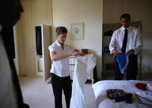 Butler training school: Trainees Georgina Browne and Dwayne Cross fold clothes for house guests