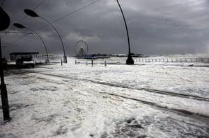 Extreme weather: Blackpool Main Promenade under flood  water