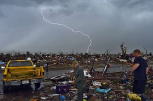 Extreme weather: Lightning strikes during a thunder storm after tornado in Moore, Oklahoma