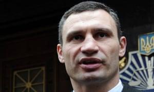 Vitali Klitschko speaking during an opposition rally in Kiev