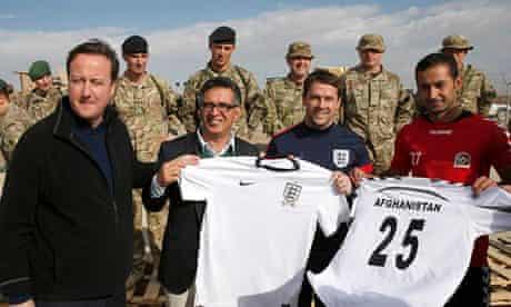 David Cameron with Michael Owen at Camp Bastion