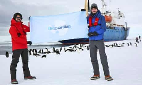 Antarctica Live: Alok Jha and Laurence Topham with a Guardian flag
