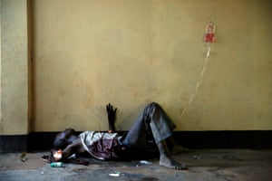 5 Dec: A severely wounded man lies unattended in a Bangui mosque, following a day-long gun battle between Seleka soldiers and Christian militias