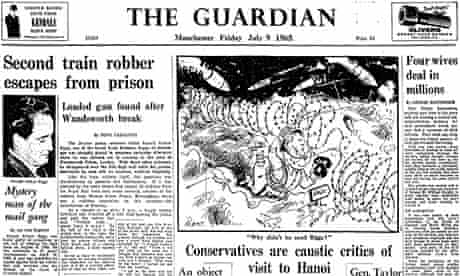Ronnie Biggs escapes Guardian front page, 9 July 1965