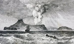 Eruption of Perbuatan volcano on Krakatoa Island, August 1883