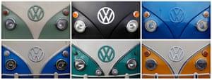 Volkswagen campers: The Volkswagen logo. The classic VW Type 2 camper van has been made in Braz