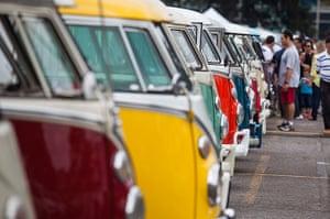 Volkswagen campers: Colourful Volkswagen Kombi minibuses