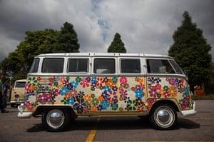 Volkswagen campers: A Volkswagen Kombi minibus painted in flowers