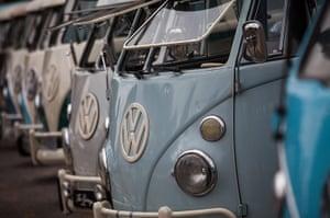 Volkswagen campers: Volkswagen Kombi minibuses are lined up