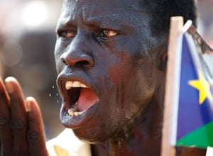 Goran Tomasevic: A man gestures during a rally in the border town of Abyei before a referend