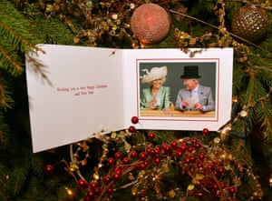 The inside of the Prince of Wales and the Duchess of Cornwall's 2013 Christmas card. The card features a photograph of The Prince of Wales and The Duchess of Cornwall on the second day of Royal Ascot.